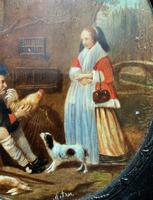After: Gabriel Metsu (1629-1667) 'The Game Seller' 19thc Miniature Oil Painting (5 of 12)