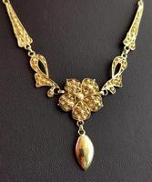 Antique Art Nouveau Drop Necklace, Floral, 22ct Gold (7 of 12)