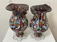 2 Beautiful Italian Murano Fratelli & Torso Millefiori Glass Vases (4 of 34)