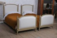 Pretty Pair of Matching French Newly Upholstered Single Beds
