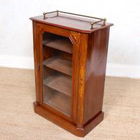 Music Cabinet Glazed Inlaid Walnut Bookcase 19th Century (3 of 10)