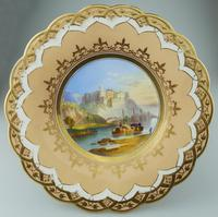 A Porcelain Comport / Tazza Hand Painted Coastal Scene C.19thc (4 of 6)