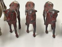 Set Miniature Antique French Lead Cold Painted Farm Animals Cow Calves Sheep (11 of 20)