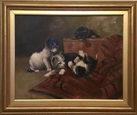 "Follower of Henrietta Ronner -Knip  ""Cats at Play"" Oil on Board"