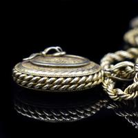 Antique Oval Buckle Fancy Locket and Rope Chain Sterling Silver Gold Gilt Necklace (5 of 11)