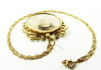 15 Carat Gold Seed Pearl Edwardian Portrait Locket with Necklace (7 of 9)