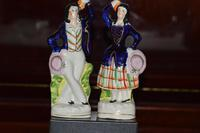 Attractive Pair of Staffordshire Figures of Village Dancers c.1860 (4 of 8)