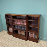 Spectacular Victorian Figured Mahogany Antique Breakfront Open Bookcase (5 of 6)