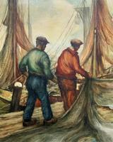 Cornish School - Large early 1900s Oil Painting of Fishermen Pulling in the Nets (5 of 14)
