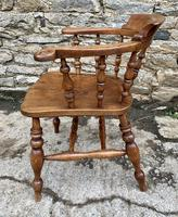 Antique Elm Captains Chair Smokers Bow (5 of 13)