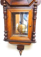 Impressive Victorian American Drop Dial Wall Clock 8 Day Movement Inlaid Case (14 of 14)