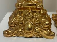 Pair of Decorative French 19th Century Gilded Hallmarked Cartouche Scroll Candlesticks (5 of 40)