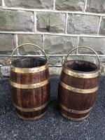 Pair of Antique Brass Bound Oak Buckets