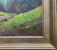The Alpine Chalet - Swiss School - A Vintage Snow-capped Landscape Oil Painting (10 of 12)