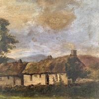 Antique large Scottish landscape oil painting of cottages in Trossachs signed Walter W Banner 1880 (5 of 11)