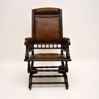 Antique Victorian Leather Rocking Chair (2 of 9)
