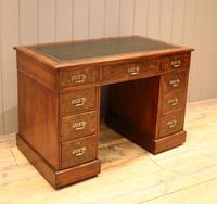 Late 19th Century Burr Walnut Pedestal Desk (3 of 11)