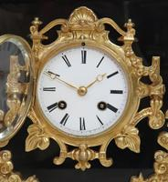 French Rococo Style Black Slate & Bronze Gilt Mantel Clock by Japy Freres (9 of 9)