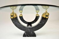 1970's Vintage Marble Glass & Brass Coffee Table (7 of 8)
