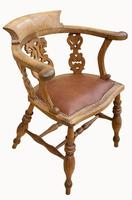 Lovely Victorian Captains Desk Chair in Beech (3 of 5)