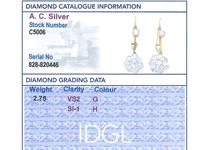 2.75ct Diamond, 15ct Yellow Gold & Platinum Drop Earrings - Antique c.1910 (12 of 12)