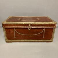 Unusual red leather and brass bound camphor trunk chest (7 of 10)