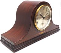 Mahogany Hat Shaped English Westminster 8-day Mantel Clock with Silver Dial (6 of 12)