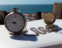 Victorian Solid Silver Omega Gurzelen Pocket Watch & Solid Silver Albert Chain (5 of 8)