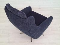 Danish Swivel Armchair with Stool, Completely Renovated-reupholstered, Furniture Wool, Retro Velor, 70s (2 of 17)