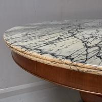 Grey Marble Top Walnut Gueridon Centre Table (4 of 5)