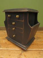 Small Black Painted Chest with Cupboard and Magazine Racks, Sofa Table (9 of 15)