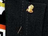 Diamond and Peridot, Enamel & 14ct Yellow Gold Pin Brooch - Art Nouveau - Antique c.1895 (9 of 9)