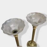 Pair of  Brass Column Holophane Uplighter Lamps (6 of 7)