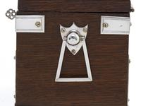 Late Victorian Oak and Silver Plate Rectangular Two Compartment Tea Caddy (3 of 8)