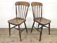 Pair of Antique Elm Farmhouse Kitchen Chairs (6 of 8)