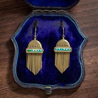 Antique Victorian Etruscan Revival Turquoise Fringe Earrings 18ct Gold c.1860 (5 of 5)