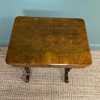 Spectacular Figured Walnut Inlaid Victorian Antique Work Box / Side Table (3 of 8)