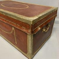 Unusual red leather and brass bound camphor trunk chest (6 of 10)