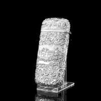 "Antique Solid Silver Victorian Cigar Cheroot Case ""Castle Top"" Windsor Castle Design - Nathaniel Mills 1844 (9 of 12)"