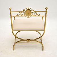 Antique French Empire Style Brass Stool / Chair (8 of 9)