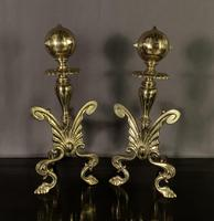 Superb Pair of Brass Aesthetic Movement Victorian Fire Dogs (2 of 6)