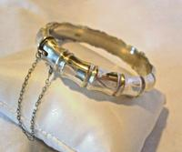 """Antique Sterling Silver Bamboo Bangle 1942 WW2 Wide Silver Bracelet 7 1/4"""" Length (3 of 10)"""