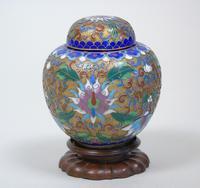 Antique Champleve Cloisonne Lidded Jar on Stand (6 of 7)