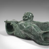 Antique Ruyi Belt Hook, Oriental, Jade Marble, Buckle, Hotei, Budai c.1900 (4 of 12)