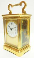 Rare Antique French 8-day Carriage Clock Unusual Masked Dial Case with Enamel Dial (3 of 10)