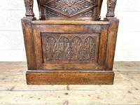 Early 20th Century Antique Carved Oak Hall Seat (3 of 13)