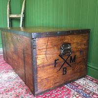 Antique Victorian Bound Campaign Chest Old Rustic Pine Wooden Storage Trunk + Full Zinc Interior + Key (5 of 10)