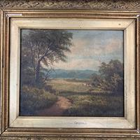 Antique Victorian landscape oil painting entitled View nr Epping signed B Fox (4 of 11)