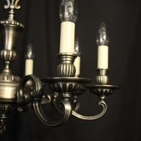 French Brass Silver Plated 8 Light Chandelier (4 of 10)