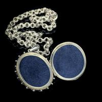 Antique Aesthetic Large Sterling Silver Locket with Belcher Chain Collar (7 of 11)